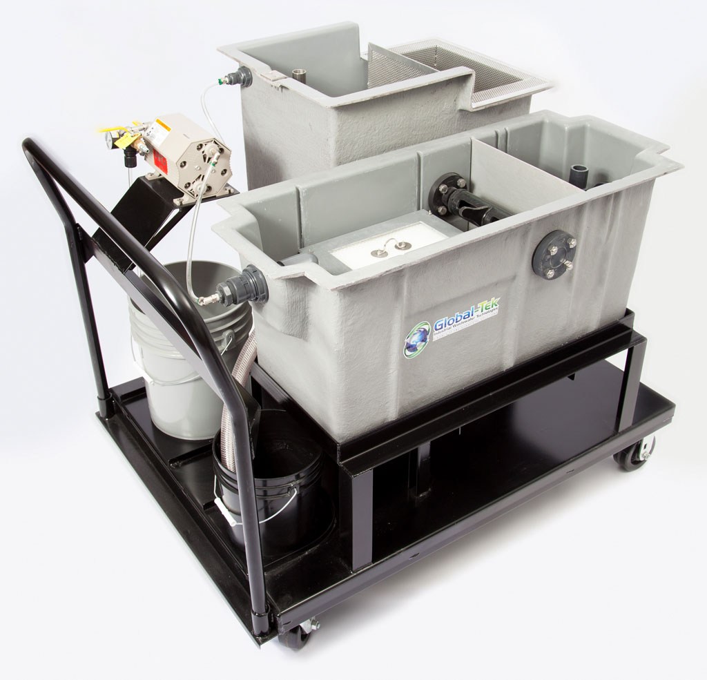 Global-Tek enhanced 2 GPM oil water separator with mobile cart
